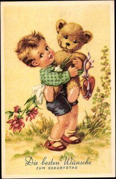 Postcard Glückwunsch Geburtstag, Blumenstrauß, Herz, Teddybär, Amag 54
