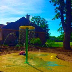 This residential splash pad so cute and fun with the bright colors of the Umbrella to the Ladybug to the tan/green safety surface. Put the Fun in your Backyard!