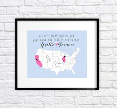 Best Friends Map, Long Distance or Hometowns - 8x10 Personalized Map Art Print, Two Hearts - Birthday Gift for Best Friend, Sisters, Cousins on Etsy, $26.99