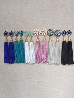 Multi Stud Beaded Tassel Earrings