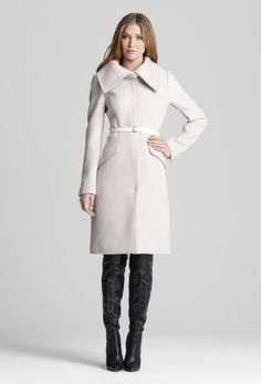 Exquisite Coffee Cashmere Coat Double Collars Dress Style Wool ...