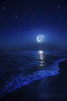 Tranquil Ocean at Night Against Starry Sky and Moon Photographic Print at AllPosters.com