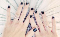 Faux Diamond Tipped Nails: We're nuts about this wintry take on a classic French mani. While the glittery accent looks stunning on a pitch black base, it would also work wonders on a navy or emerald polish.