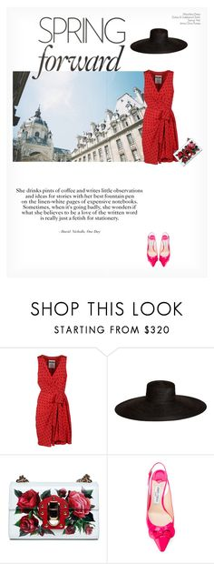 """""""SPRING FORWARD"""" by paint-it-black ❤ liked on Polyvore featuring Moschino, Samuji, Dolce&Gabbana and Jimmy Choo"""