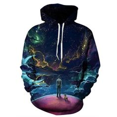 27612488a87 Dog Galaxy Hoodie Colorful Clouds