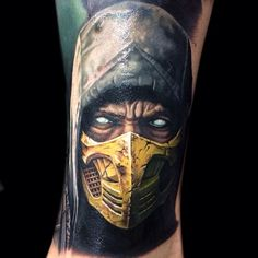 """""""Who's a fan of the yellow power Ranger? Well this isn't him!, but I had fun doing this Scorpion from Mortal Combat the other day on @b0rto @inkjecta…"""""""