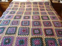 Crochet Large granny squares made into blanket