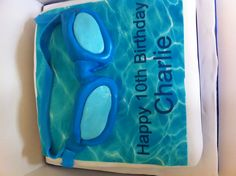 Swimming pool party themed birthday cake