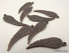 Antiqued Copper Wing Charms 28x9mm by JSWMetalWorksSupply