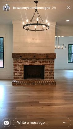 Best Photographs Brick Fireplace mantle Suggestions It often will pay to be able to neglect the actual upgrade! As an alternative to pulling out the dated brick fireplace , Brick Fireplace Makeover, Shiplap Fireplace, Farmhouse Fireplace, Home Fireplace, Living Room With Fireplace, Fireplace Design, Home Living Room, Apartment Living, Rustic Mantle