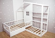 Montessori L-shape nook house bed with drawer - Tuğba Eskin(lost gypys) . - - Montessori L-shape nook house bed with drawer - Tuğba Eskin(lost gypys) . House Beds For Kids, Kid Beds, Bunk Beds, Eckhaus, L Shaped House, L Shaped Beds, Wooden Bed Frames, Bed With Drawers, Big Girl Rooms