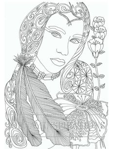 Adult Coloring Book, Printable Coloring Pages, Coloring Pages, Coloring Book for Adults, Instant Download, Faces of the World 1 page 12