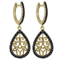 Gold Plated Sterling Silver Filigree Earrings With Black CZ Border from The Luxe Store
