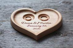 Wedding Ring Cushion – Personalized Wood Wedding Ring Bearer Holder. – a unique…