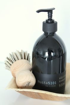 bottle, brush and caddy