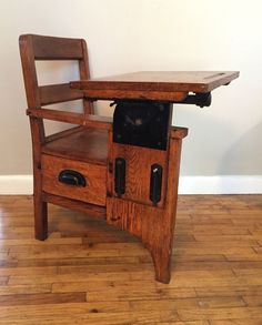 RARE Child's Antique School Desk Chair wood metal Mission Flamed Oak Very Small #MissionArtsCrafts