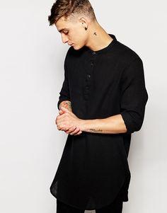 ASOS Super Longline Shirt In Lightweight Fabric And Grandad Collar