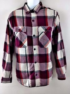 NWT $40 OLD NAVY Mens Plaid FLANNEL Button Down L/S Shirt W/ Sherpa Large L