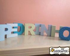 Letras 3D Personalizadas Scrapbook | Queen Bee Decorações de Festas | Elo7