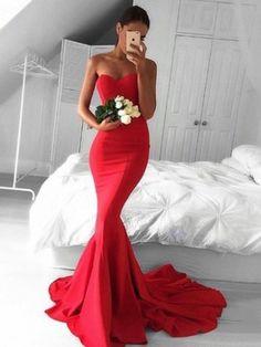 Top Trumpet/Mermaid Sweetheart Silk-like Satin Sweep Train Ruffles Red Backless Prom Dresses #DGD020103568