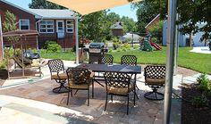 Alexandria patio - landscape design - Porcini tumbled travertine pavers - D.C. metro - Revolutionary Gardens