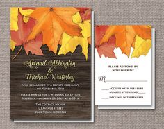 Rustic Autumn Reception Invitations and RSVP - Printed or Printable - Red Orange Yellow Leaves Brown Wood. Southern country Autumn Wedding