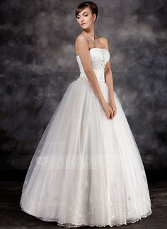 Ball-Gown Strapless Floor-Length Organza Wedding Dress With Ruffle Beading Appliques Lace (002016939)