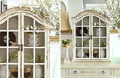 Distressed White Window Cabinet - Decor Steals Wooden Console Table, French Country Furniture, Coffee Bar Signs, Savvy Southern Style, Old Cabinets, Antique Farmhouse, Cabinet Decor, Window Wall, Architectural Salvage