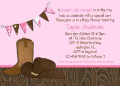 Little Cowgirl Western Baby Shower Invitation