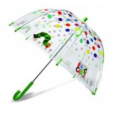 The Very Hungry Caterpillar is the theme of this transparent bubble umbrella. Adorned with Eric Carle illustrations, this umbrella is sure to make a walk in the rain an adventure. Clear Dome Umbrella, Bubble Umbrella, Under My Umbrella, Umbrella Art, Chenille Affamée, Kids Brand, Kids Umbrellas, Umbrellas Parasols, Hungry Caterpillar Party