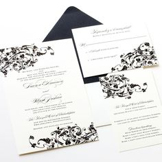 Affordable thermography wedding invitations. Black whimsical design. Customizable.