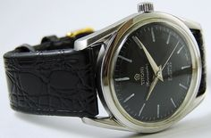 Vintage Titoni Airmaster 21J Titoflex Automatic Black Dial Date Swiss Made Watch | eBay