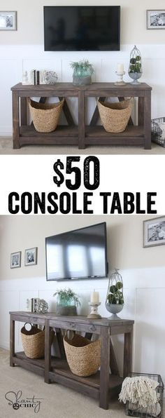 LOVE this console table! Only $50 in lumber!!! www.shanty-2-chic.com
