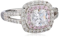 Sterling Silver Pink and White Cubic Zirconia Cushion Ring ** Insider's special review you can't miss. Read more  : Jewelry Rings