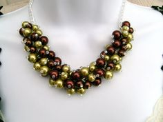 Chocolate and Lime Pearl Beaded Necklace Bridal by KIMMSMITH