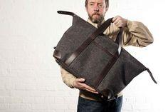 men's weekender bag - tweed + leather