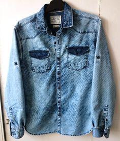 Washed denim shirt Denim Art, Men's Denim, Denim Shirt Men, Washed Denim, Jean Shirts, Western Shirts, Shirt Jacket, Men's Style, Casual Shirts