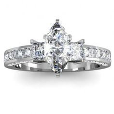 Marquise Cut Three Stone Diamond Engagement Ring - Unusual Engagement Rings Review YESSS