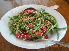 Fresh Green Bean Salad with Tomatoes Feta and Toasted Walnuts, for Sunday Supper Suggestion.