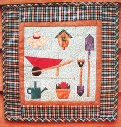 Garden time MH paper piecing foundation mini quilt pattern wheelbarrow birdhouse
