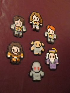 Harry Potter set includes: Harry (with glasses and scar), Ron, Hermione, Dobby, Hagrid, Dumbledore, and Voldemort  @ https://www.etsy.com/listing/156297477/harry-potter-perler-art-magnets-or-wall
