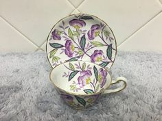 Royal Chelsea Bone China Purple Flowers Tea Cup and Saucer - Cup cokies 2020 Cup And Saucer Set, Tea Cup Saucer, Tea Cups, Diy Tea Bags, Flower Tea, Teapots And Cups, Tea Service, My Cup Of Tea, Chelsea