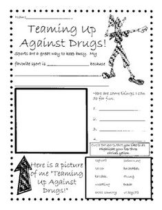 Here is a fun themed Red Ribbon Week poster/worksheet to use whole-class or as a station.  Great to use if your school is having a Favorite Sports Team/Jersey dress-up day during Red Ribbon Week!