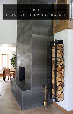 Create a gorgeous and modern place to store your firewood by building this floating firewood holder! Wood Holder For Fireplace, Wooden Fireplace, Concrete Fireplace, Concrete Wood, Home Fireplace, Fireplace Design, Fireplace Ideas, Floating Fireplace, Basement Fireplace