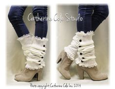 Button down cream Leg warmers for boots by CatherineColeStudio
