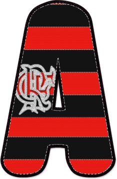 Alfabeto Decorativo: Alfabeto - Bandeira do Flamengo - PNG