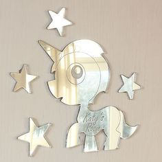 Personalised Unicorn & Stars Door Name Plaque Boy or Girls Bedroom Room Sign