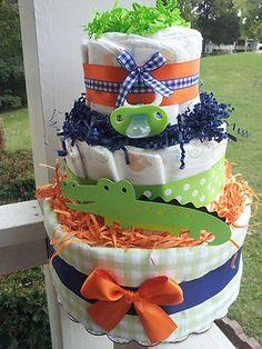 Navy Blue ALLIGATOR 3 tier diaper cake baby shower decoration/centerpiece | eBay