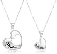 Sterling Silver Mother Daughter Heart Pendant Set of Two Necklaces 18'...