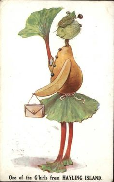 Fantasy - Vegetable Person One of G'hirls at Haying Island w/ Cancel Postcard